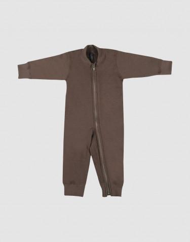 Combinaison pour bébé, en tissu éponge pure laine Brun fudge
