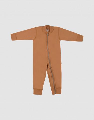 Combinaison pour bébé en tissu éponge de laine caramel