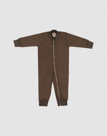 Combinaison pour bébé en tissu éponge de laine chocolat noir