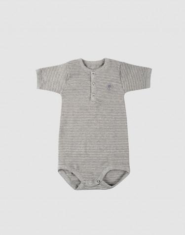 Body pour bébé à manches courtes en coton bio Gris rayé