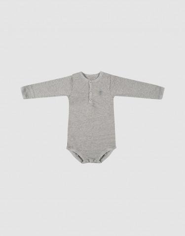 Body pour bébé à manches longues en coton bio Gris rayé