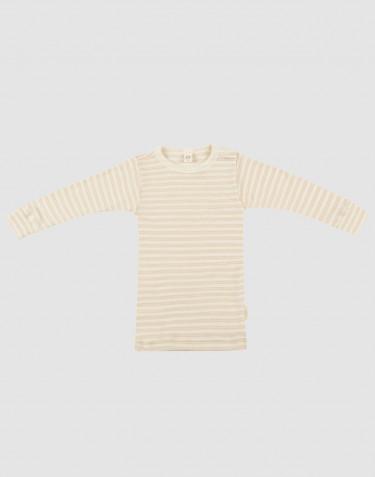 T-shirt à manches longues pour bébé en laine bio et soie beige/naturel