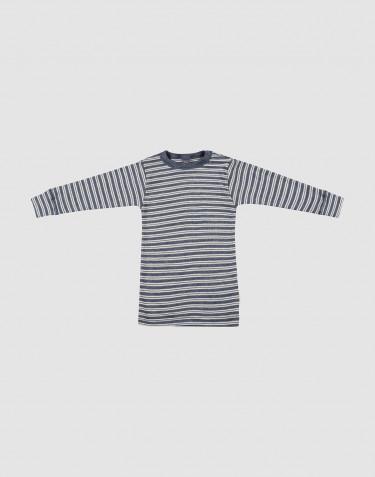 T-shirt à manches longuesen laine bio et soie mélange de bleus/naturel