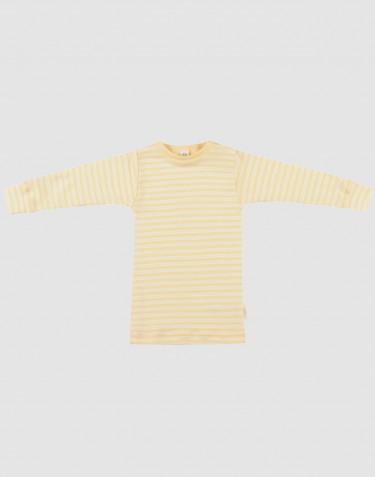 T-shirt à manches longues pour bébé en laine bio et soie Jaune clair/naturel