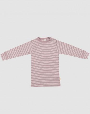 T-shirt à manches longues en laine bio et soie rose pastel/naturel