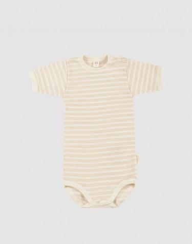 Body à manches courtes en laine bio et soie beige/naturel