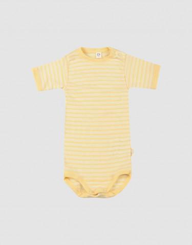 Body à manches courtes pour bébé en laine bio et soie Jaune clair/naturel