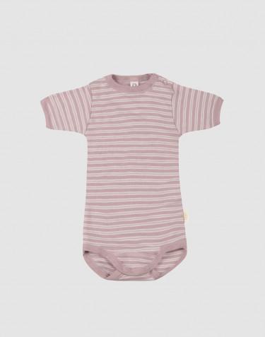 Body à manches courtes en laine bio et soie rose pastel/naturel