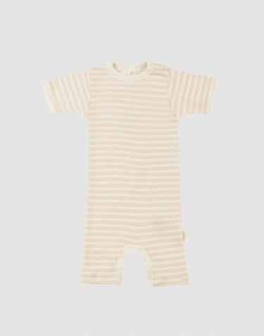 Barboteuse pour bébé en laine bio et soie beige/naturel