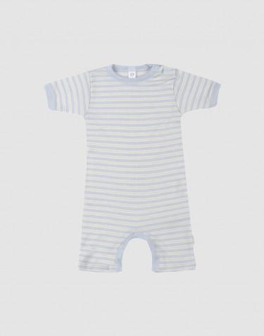 Barboteuse pour bébé en laine bio et soie Bleu/Nature