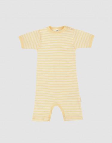 Barboteuse pour bébé en laine bio et soie Jaune clair/naturel