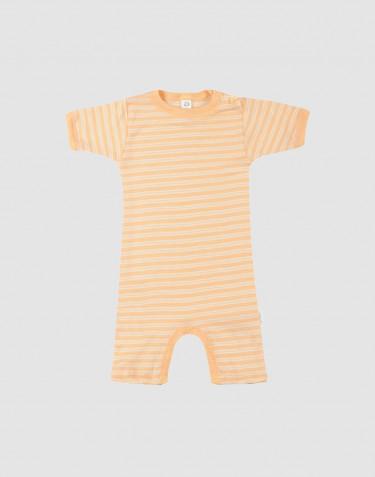 Barboteuse pour bébé en laine bio et soie Abricot/Nature