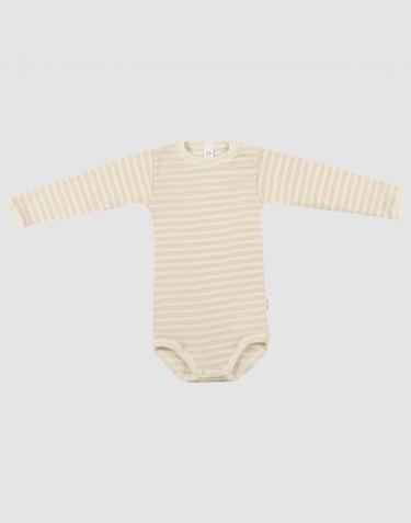 Body pour bébé à manches longues en laine bio et soie Beige/Nature