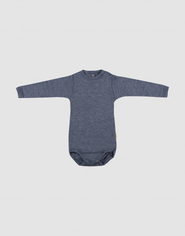 Body à manches longues en laine bio et soie mélange de bleus