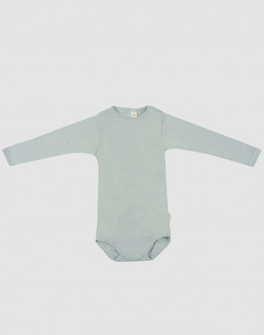 Body à manches longues en laine bio et soie vert pastel