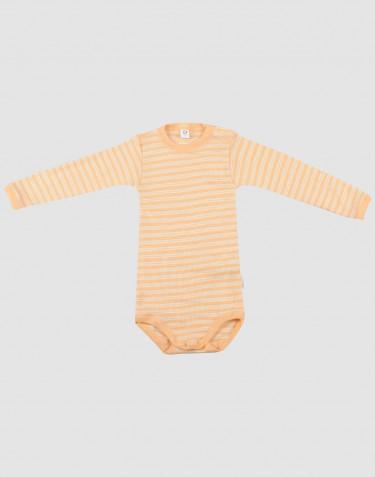 Body pour bébé à manches longues en laine bio et soie Abricot/Nature