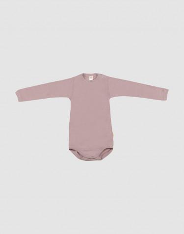 Body à manches longues en laine bio et soie rose pastel