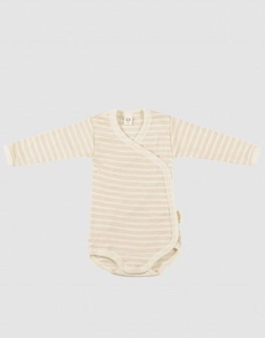 Body croisé pour bébé en laine bio et soie beige/naturel
