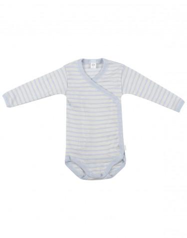 Body croisé pour bébé en laine bio et soie Bleu/Nature