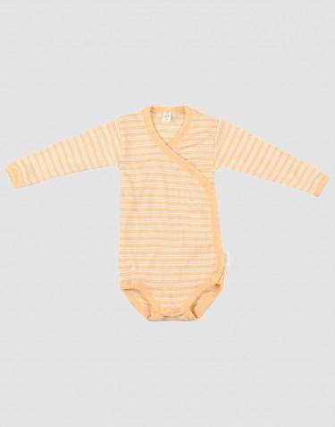 Body croisé pour bébé en laine bio et soie Abricot/Nature
