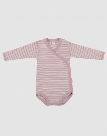 Body croisé en laine bio et soie rose pastel/naturel