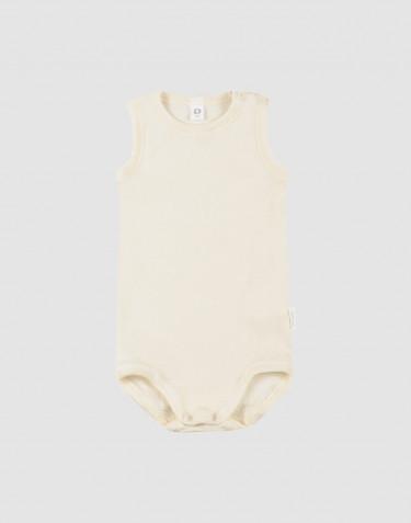 Body débardeur pour bébé en laine bio et soie Nature