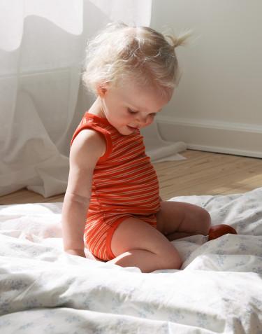 Body débardeur pour bébé en laine mérinos et soie