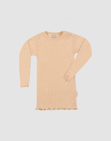 T-shirt à manches longues effet pointelle pour bébé en laine mérinos et soie