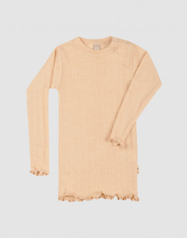 T-shirt à manches longues pour bébé en laine mérinos et soie en maille pointelle et côtes fines