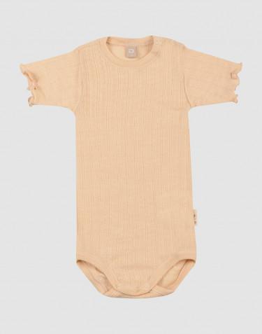 Body effet pointelle pour bébé en laine mérinos et soie
