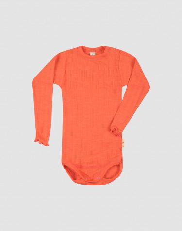 Body à manches longues effet pointelle pour bébé en laine mérinos et soie