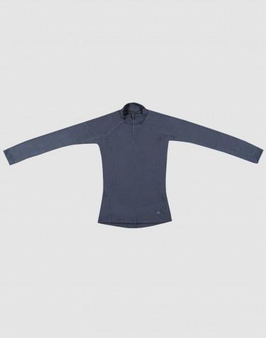 T-shirt à manches longues pour enfant- laine mérinos bio exclusive Bleu Gris