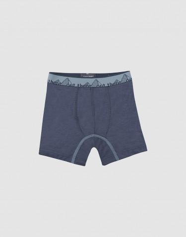 Boxer pour enfant - laine mérinos exclusive bio - Bleu gris