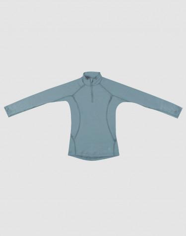 T-shirt à manches longues et demi-zip -laine mérinos exclusive bleu minéral