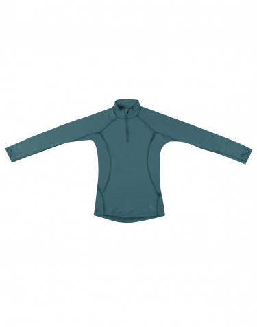 Tricot de peau avec fermeture demi-zippée -laine mérinos exclusive vert émeraude
