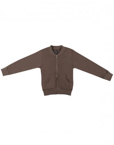 Gilet zippé pour enfant, en tissu éponge de laine mérinos brun fudge