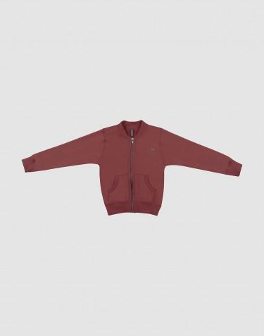 Pull léger pour enfant en laine, avec fermeture éclair Rouge