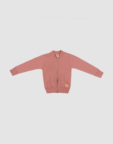 Gilet zippé en tissu éponge de laine pour enfant rose foncé