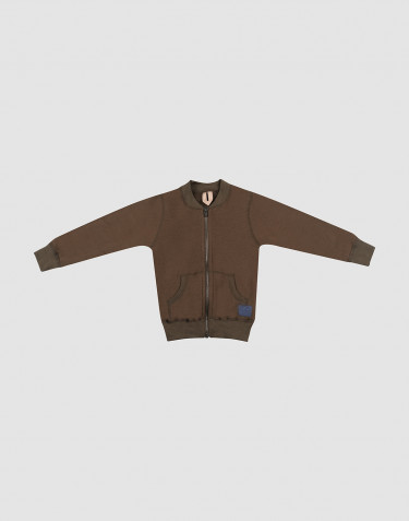 Gilet zippé en tissu éponge de laine pour enfant chocolat noir