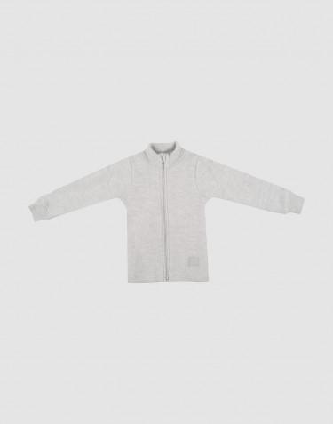 Veste pour enfant en polaire de laine mérinos gris clair