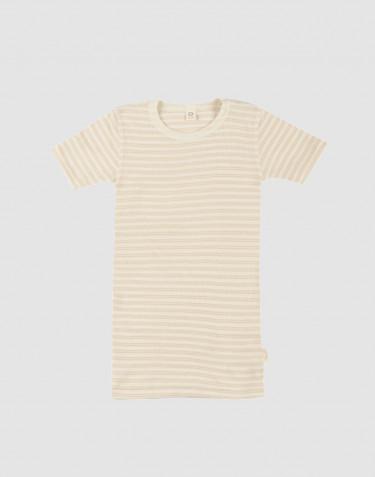 T-shirt pour enfant en laine bio et soie beige/naturel