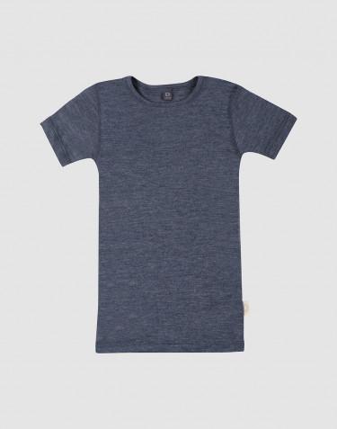 T-shirt pour enfant en laine et soie mélange de bleus