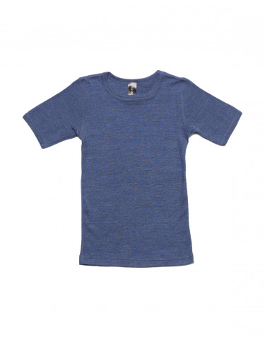 Tee-shirt pour enfant, en laine et soie Bleu jeans