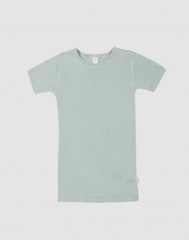 T-shirt pour enfant en laine et soie vert pastel