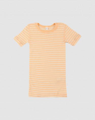 Tee-shirt pour enfant, en laine bio et soie Abricot/Nature