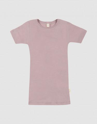 T-shirt pour enfant en laine et soie rose pastel