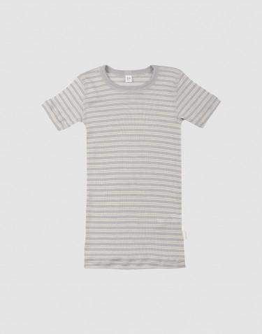 Tee-shirt pour enfant, en laine bio et soie Gris/Nature