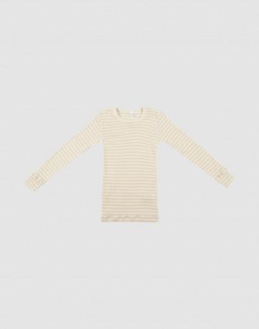 Tricot de peau à manches longues pour enfant, en laine bio et soie Beige/Nature