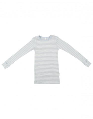 Tricot de peau rayé pour enfant, en laine bio et soie bleu/naturel