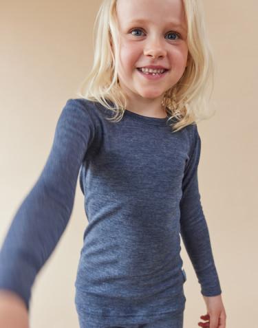 T-shirt à manches longues pour enfant en laine bio et soie Mélange de bleus